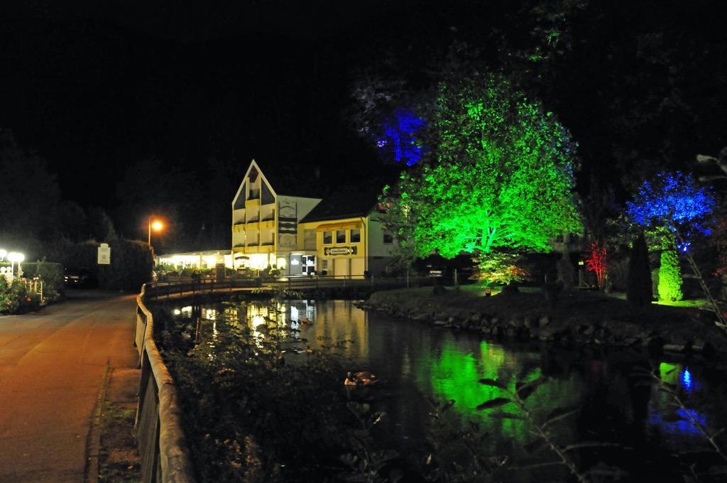 Hotel am Schwanenweiher bij nacht